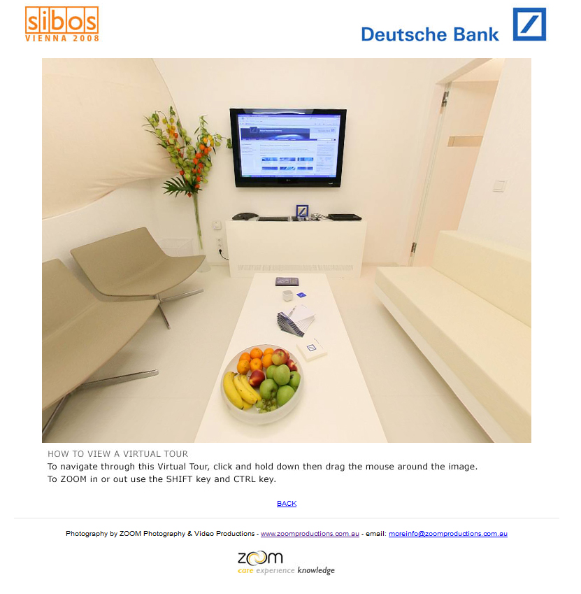 Deutsche Bank, virtual tour, 360, photography, 360 photography, Zoom Productions, SIBOS, crearive, agency, Sydney, business events