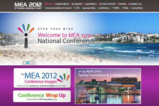 mea 2012, conference website, photography, video, zoom productions, conference